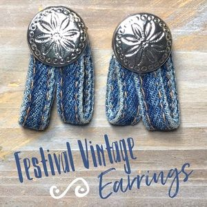 Festival denim retro boho hippie vintage earrings